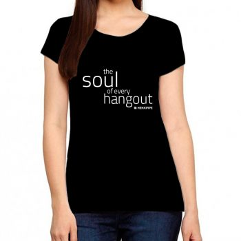 Women black t-shirt with signature soul of every hangout