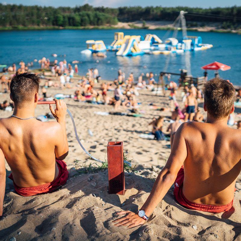 Water park on the beach, looking and enjoying hookah hekkpipe_lifeisaview
